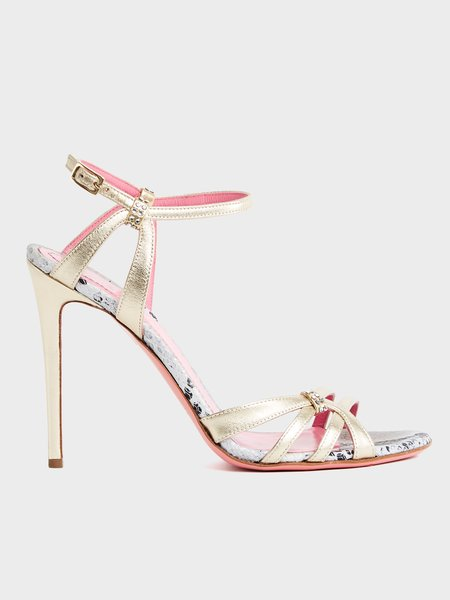 Metallic leather sandals with stiletto heels - yellow