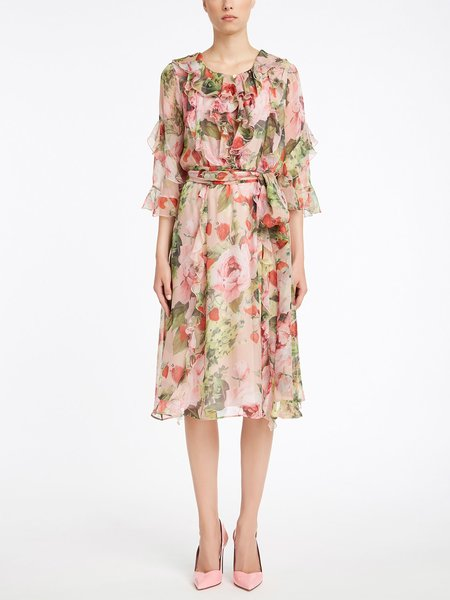 Dress in rose-print silk with ruffle