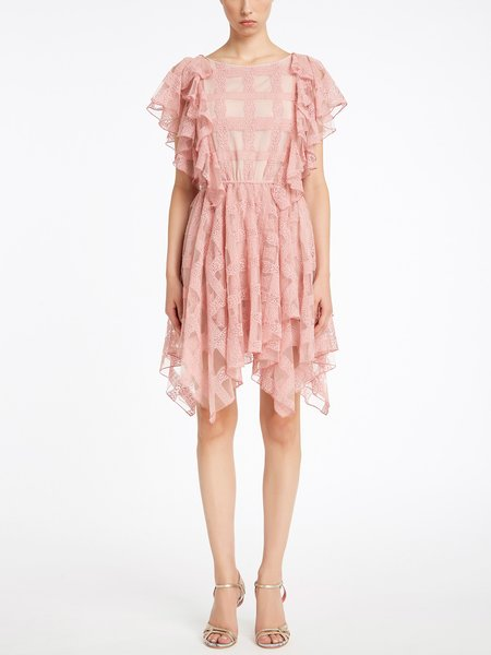 Dress in tulle with frill - pink