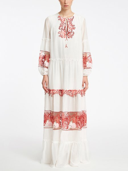 Long kaftan with embroidery