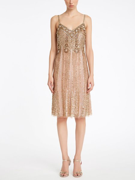 Slip dress with sequined embroidery