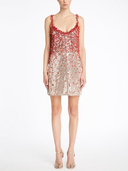 Slip dress with coral embroidery