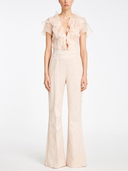 Jumpsuit in silk and jacquard fabric