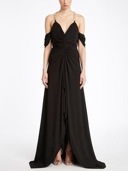Long dress in jersey with jewelled shoulder straps