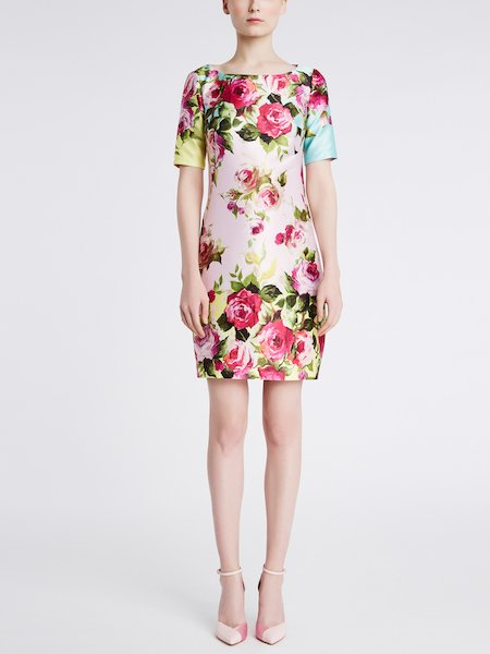 Rose print short-sleeved dress - Multicolored