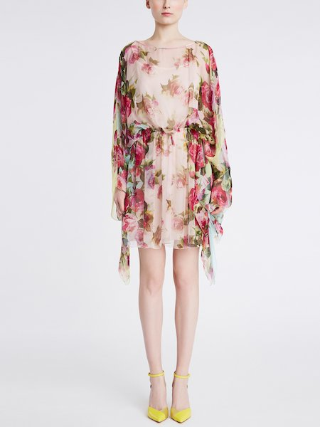 Dress in rose-print silk chiffon