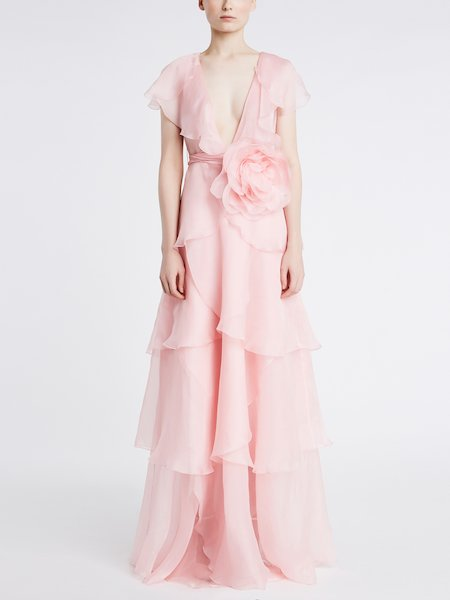 Long dress in chiffon with big rose