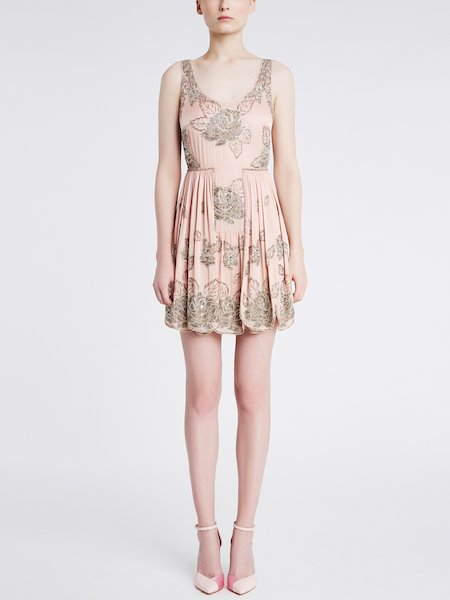 Sleeveless embroidered dress - pink