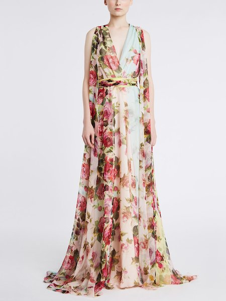 Long dress in rose-print chiffon