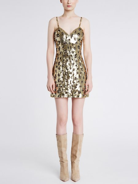 Slip dress with sequin embroidery