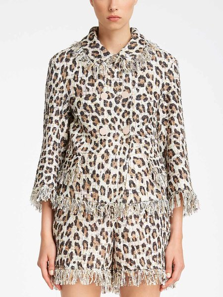 Animalier print bouclé jacket with fringe