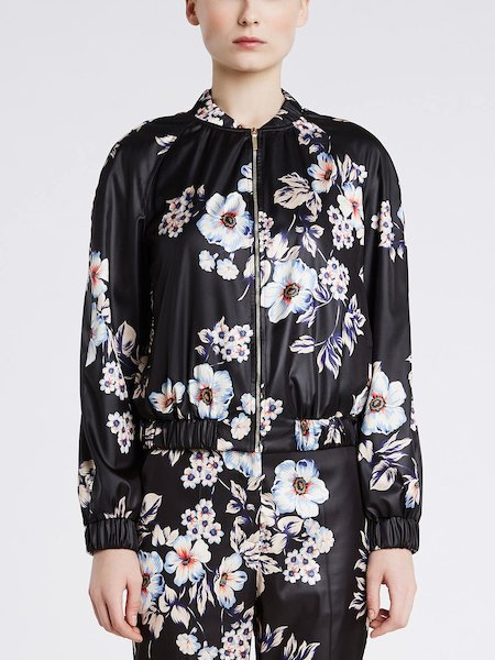 Bomber jacket in flower print duchesse