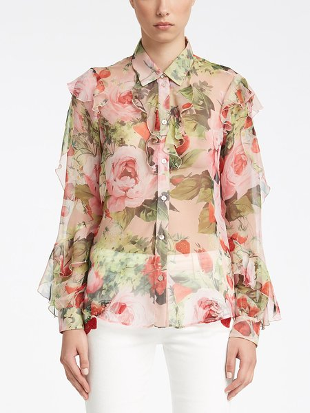 Camicia in Chiffon Stampa Rose