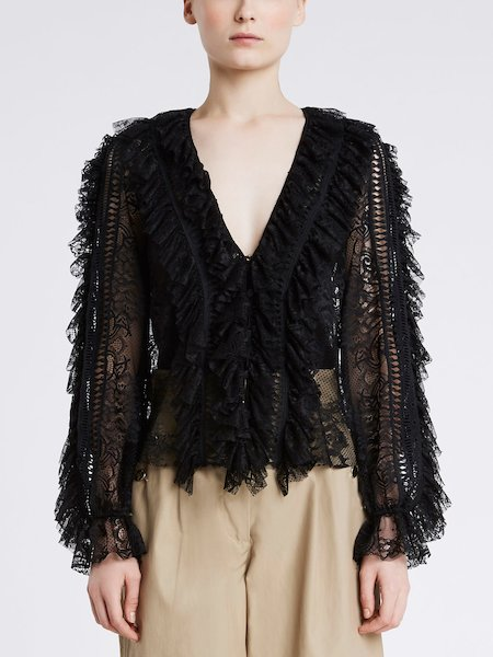 Long-sleeved shirt with lace and frill - Black