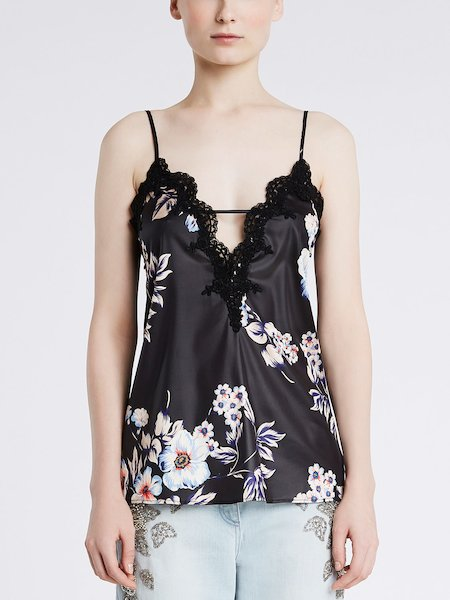 Top in flower print satin with lace
