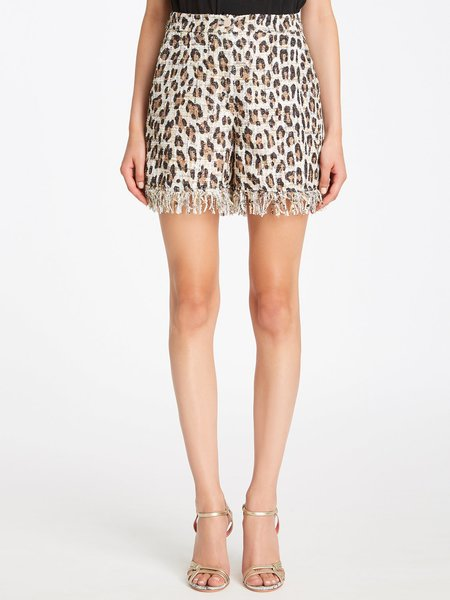 Animalier-print bouclé shorts with fringe
