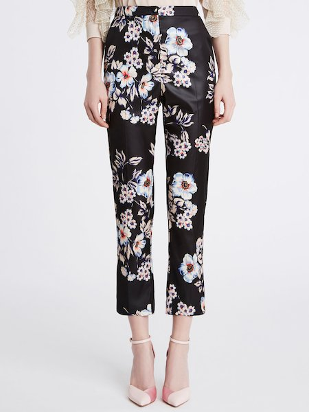 Trousers in floral print duchesse