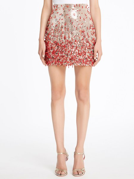 Skirt embroidered with sequins, coral and beads