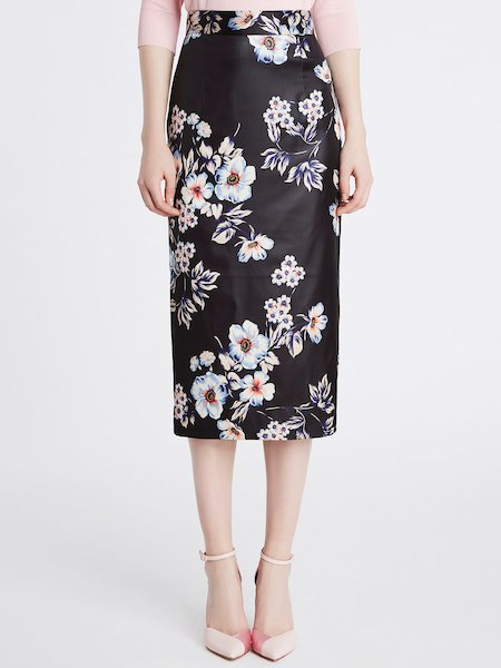 Midi skirt in flower print duchesse - Black