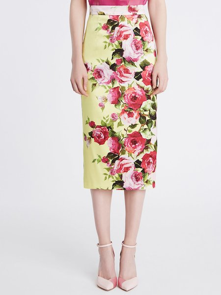 Midi skirt in rose print duchesse