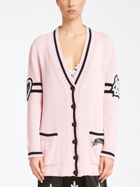 Cotton cardigan with embroidered patches and logo - pink