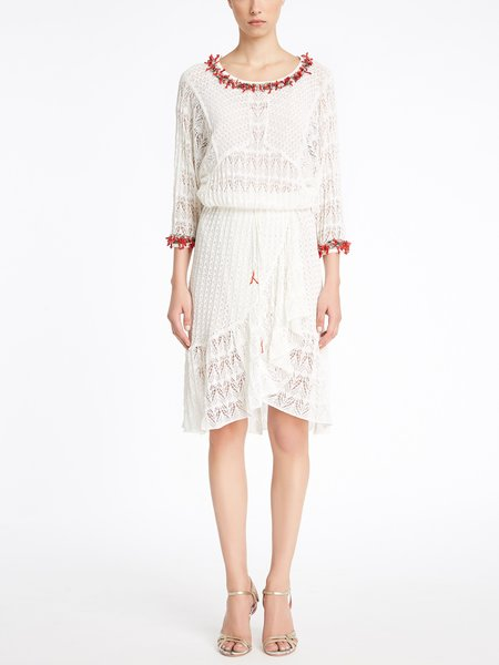 Knit dress with coral embroidery - white