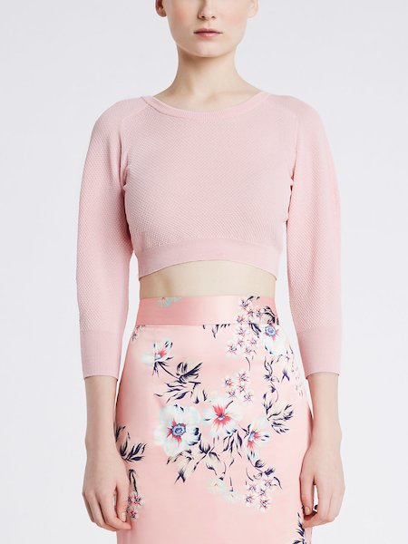 Cropped sweater with three-quarter length sleeves - pink