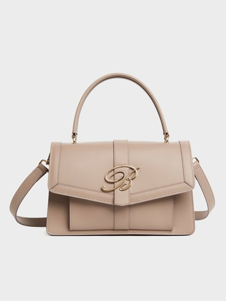 Leather handbag with removable shoulder strap and logo - beige