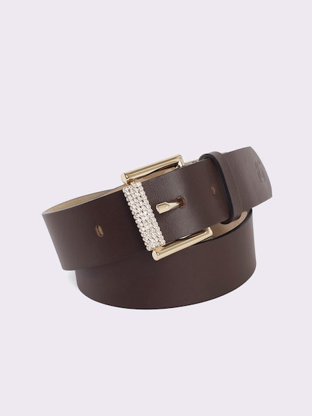 Leather belt with rhinestones and logo - Dark Brown