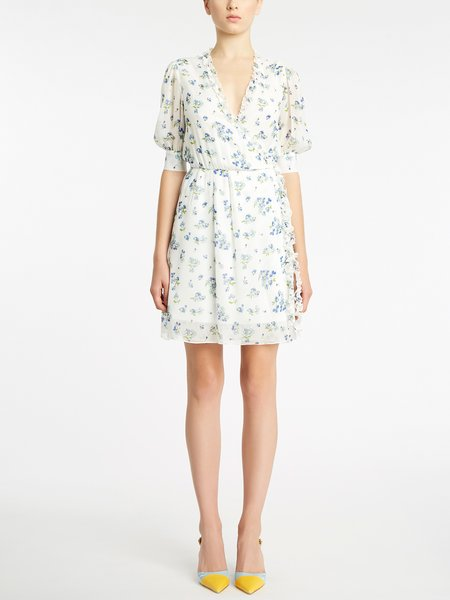 Short-sleeved dress with micro bouquet print