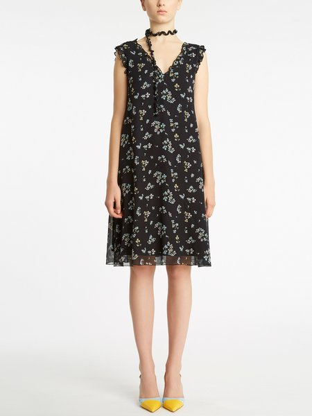 Micro bouquet print sleeveless dress