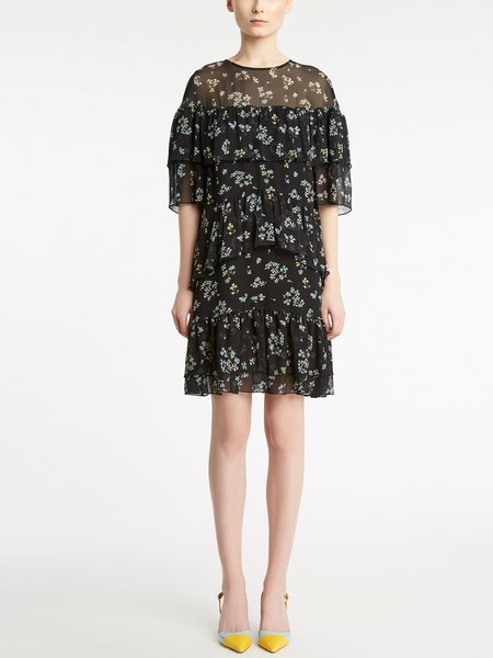 Micro bouquet print dress with flounce