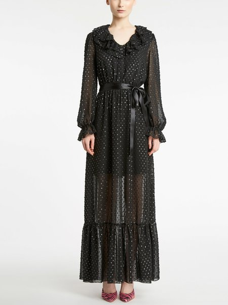 Long dress with polka dot embroidery and flounce - Black