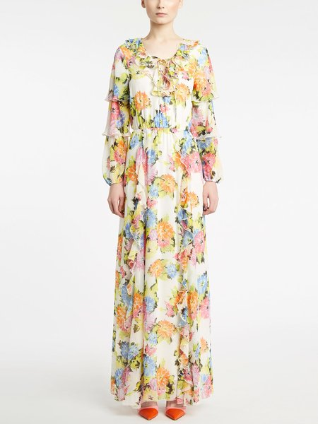 Long floral print dress with flounce - Multicolored