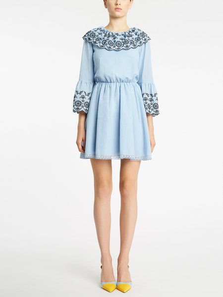 Cotton dress in broderie anglaise embroidery - blue