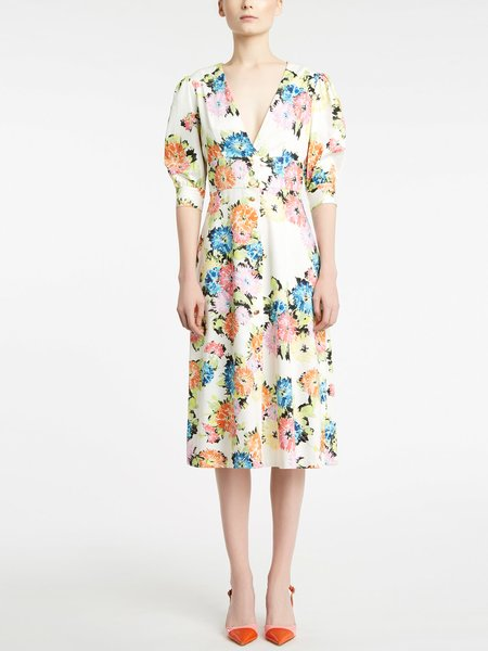 Midi-dress in floral print cotton