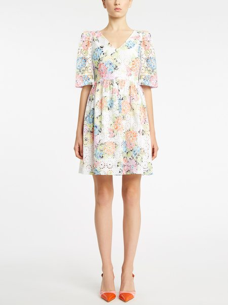 Broderie anglaise embroidery floral print dress