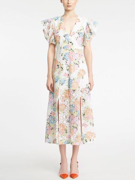 Midi-dress in floral print broderie anglaise