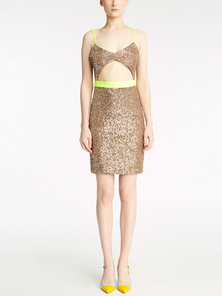 Dress with sequin embroidery and cut-out effect