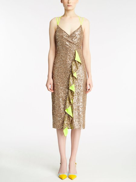 Dress with sequin embroidery and frill - Brown