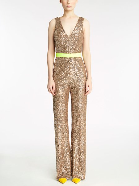 Sleeveless jumpsuit with sequin embroidery