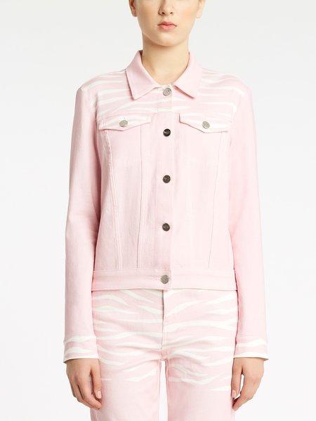 Jean jacket with zebra print details - pink