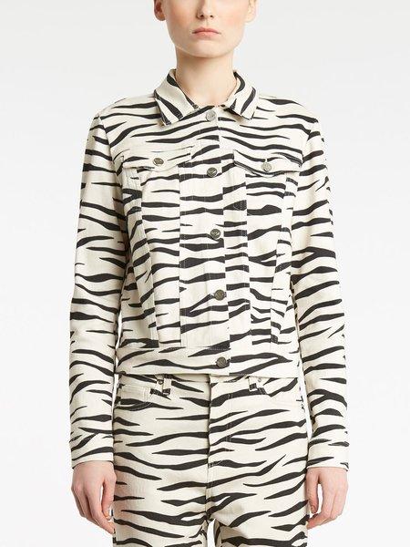 Джинсовая куртка с принтом зебры