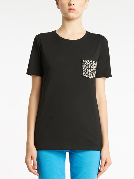 Cotton T-shirt with rhinestone embroidery - Black