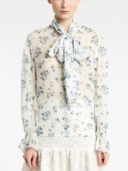 Long-sleeved shirt with micro bouquet print - Multicolored