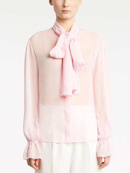 Long-sleeved blouse with bow - pink