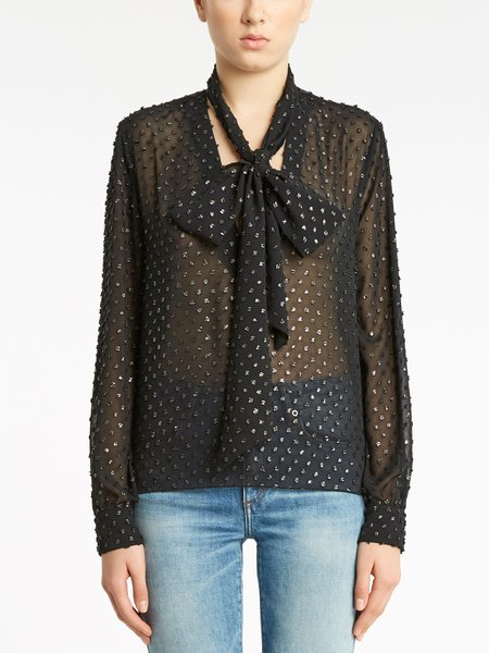 Blouse with polka dot embroidery and bow