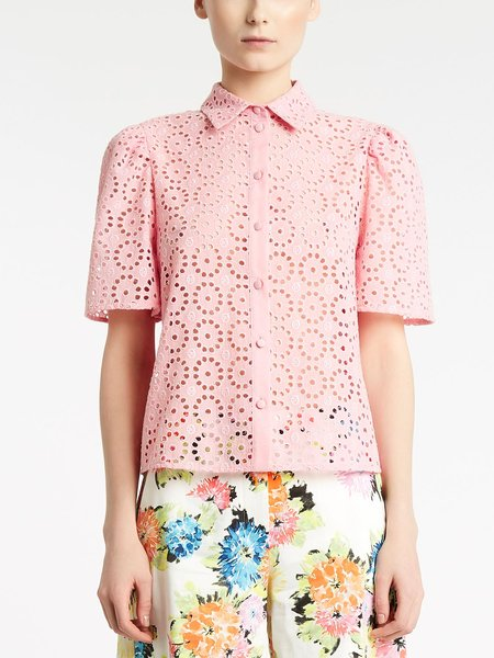 Broderie anglaise embroidery short-sleeved shirt