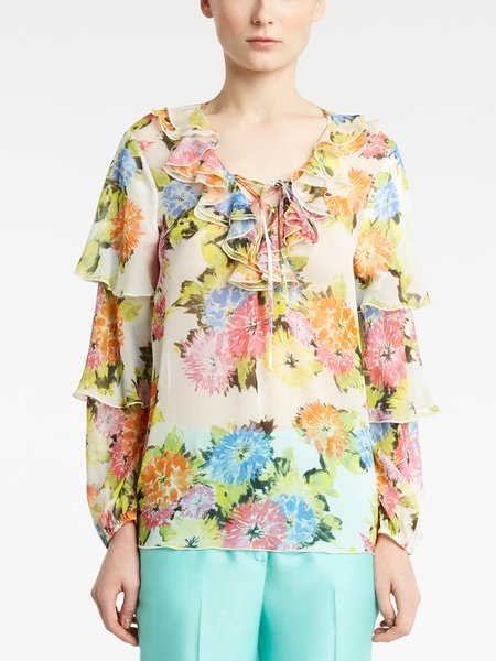 Floral print blouse with flounces