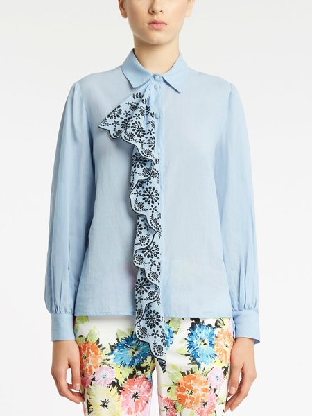 Shirt with broderie anglaise embroidery flounce - blue
